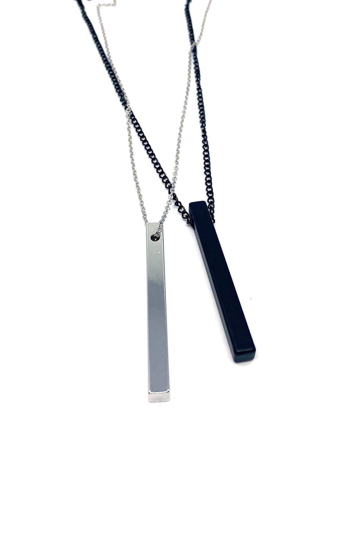 Çubuk Kolye 60 Cm Gümüş Ve Siyah Renk Set