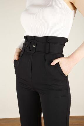 Z GİYİM Kadın Siyah Kemerli Yüksek Bel Kumaş Pantolon 3
