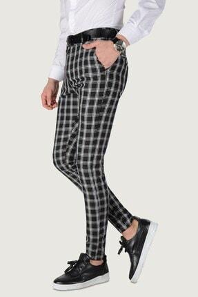 Terapi Men Erkek Ekoseli Slim Fit Keten Pantolon 20k-2200253 Siyah 2