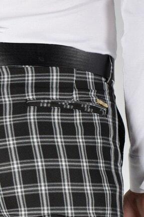 Terapi Men Erkek Ekoseli Slim Fit Keten Pantolon 20k-2200253 Siyah 3