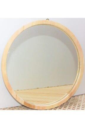şeker marangoz Ahşap Yuvarlak Dekor Ayna 40 Cm 1
