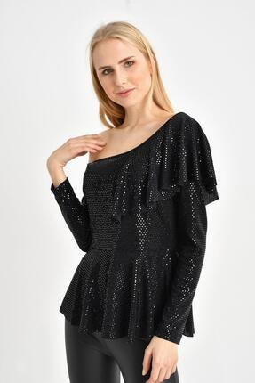 Tena Moda Kadın Siyah Parlak Asimetrik Volanlı Bluz 2