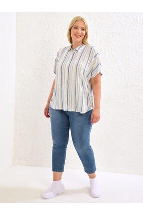 LC Waikiki Kadın Mavi Çizgili  Gömlek 1