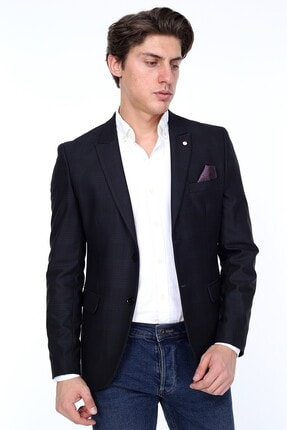 Zen Zen Zenzen Siyah Kareli Erkek Blazer Ceket Slım Fıt 0