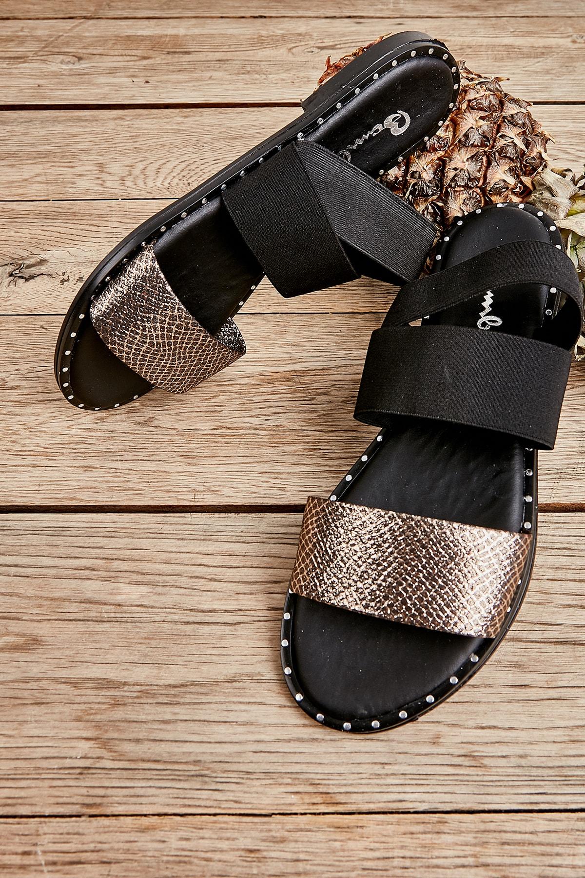 Altın Yılan Baskı Kadın Sandalet L0647160432