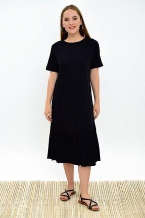 Cotton Mood 9303044 Süprem Eteği Pliseli Kısa Kol Elbise Sıyah 2