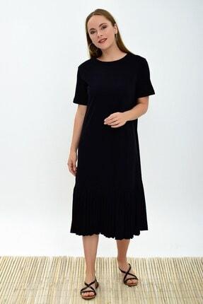 Cotton Mood 9303044 Süprem Eteği Pliseli Kısa Kol Elbise Sıyah 3