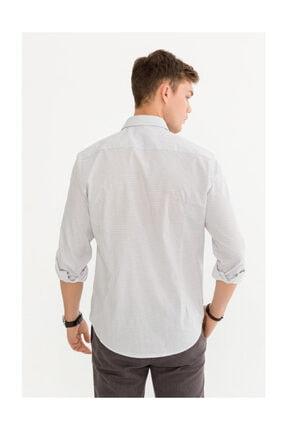 Avva Erkek Beyaz Baskılı Düğmeli Yaka Slim Fit Gömlek A92s2274 2