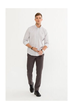 Avva Erkek Beyaz Baskılı Düğmeli Yaka Slim Fit Gömlek A92s2274 3
