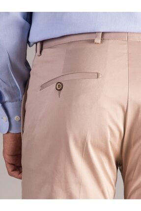 Dufy Bej Düz Pamuklu Saten Erkek Pantolon - Regular Fıt 3