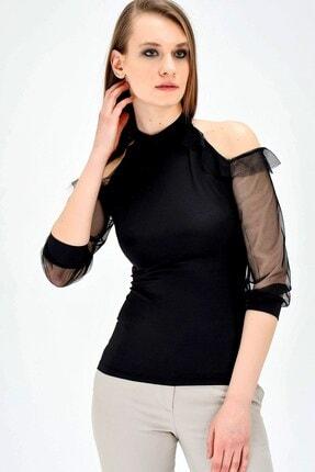 Jument Kadın Ofis Dik Yaka Tül Detaylı Body Bluz -siyah 1