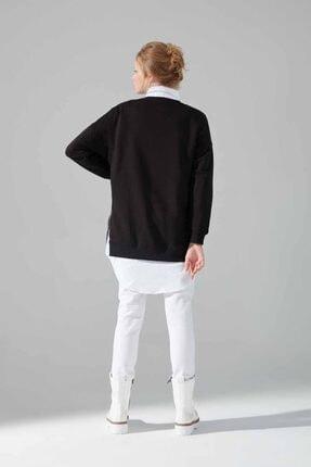 Mizalle Youth Yandan Fermuarlı Sweatshirt (Siyah) 3