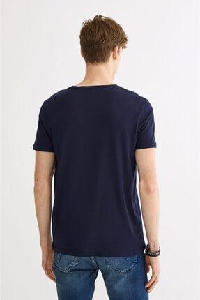 Avva Erkek Lacivert Ultrasoft Bisiklet Yaka Düz Modal T-shirt A01b1171 2