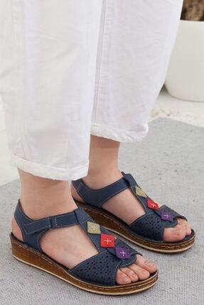 Lacivert Kadın Dolgu Topuklu Sandalet A202YTAR0007