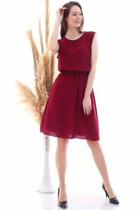 Cotton Mood 9315020 Dok.viskon Desenli Cepli Kolsuz Elbise Bordo 2