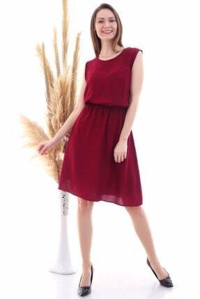 Cotton Mood 9315020 Dok.viskon Desenli Cepli Kolsuz Elbise Bordo 4