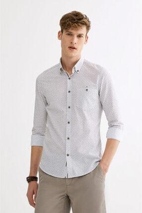 Avva Erkek Haki Baskılı Düğmeli Yaka Slim Fit Gömlek A01y2027 0