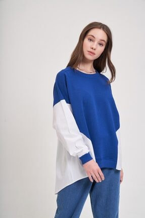 Mizalle Youth Poplin Gömlek Detaylı Sweatshirt (Saks) 0