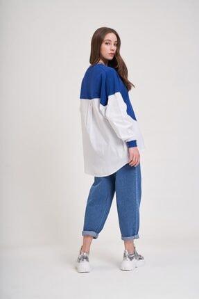 Mizalle Youth Poplin Gömlek Detaylı Sweatshirt (Saks) 3