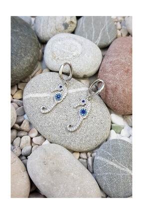 Chavin Taşlı Sallantılı Halka Denizatı Gümüş Bayan Küpe Ee78by 1