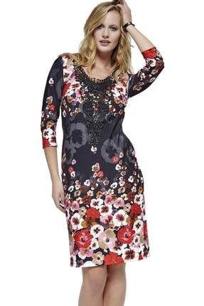 Dodona 2761 Çiçek Desenli Şık Kışlık Triko Şık Kışlık Elbise 2