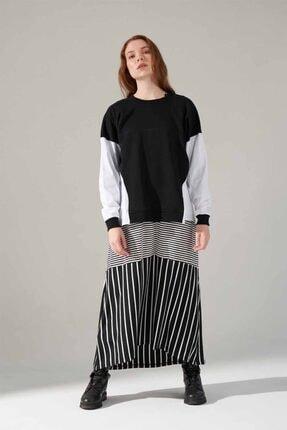 Mizalle Youth Poplin Gömlek Detaylı Sweatshirt (Siyah) 0