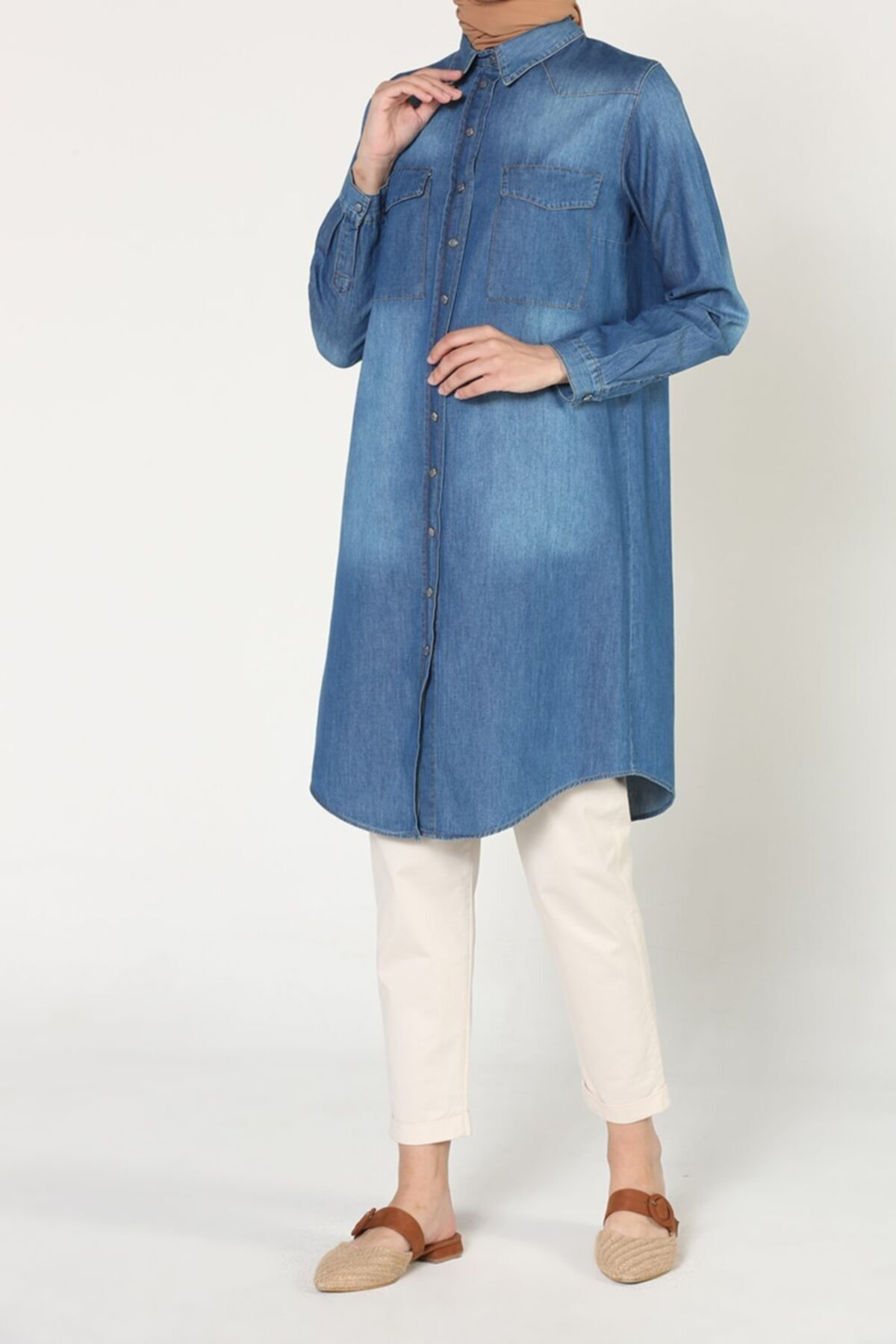 Mavi Cepli Çıtçıtlı Pamuklu Denim Gömlek Tunik