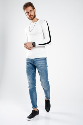 Lafaba Erkek Beyaz Kolları Şeritli Triko 3