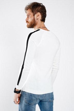 Lafaba Erkek Beyaz Kolları Şeritli Triko 4