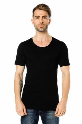 Ozer Butik Erkek Siyah Göğüs Ve Sırt Detaylı Arkası Uzun Tişört Oz071995vs02 0