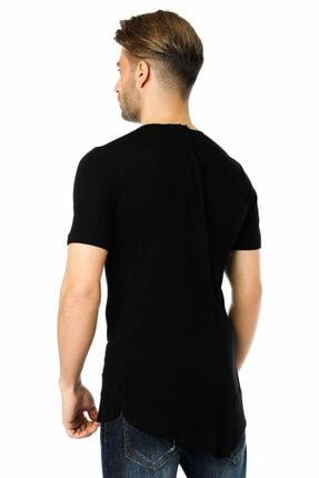 Ozer Butik Erkek Siyah Göğüs Ve Sırt Detaylı Arkası Uzun Tişört Oz071995vs02 1
