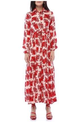 AYSL BUTİK Kırmızı Çiçek Desenli Belden Büzgülü Gömlek Elbise 2