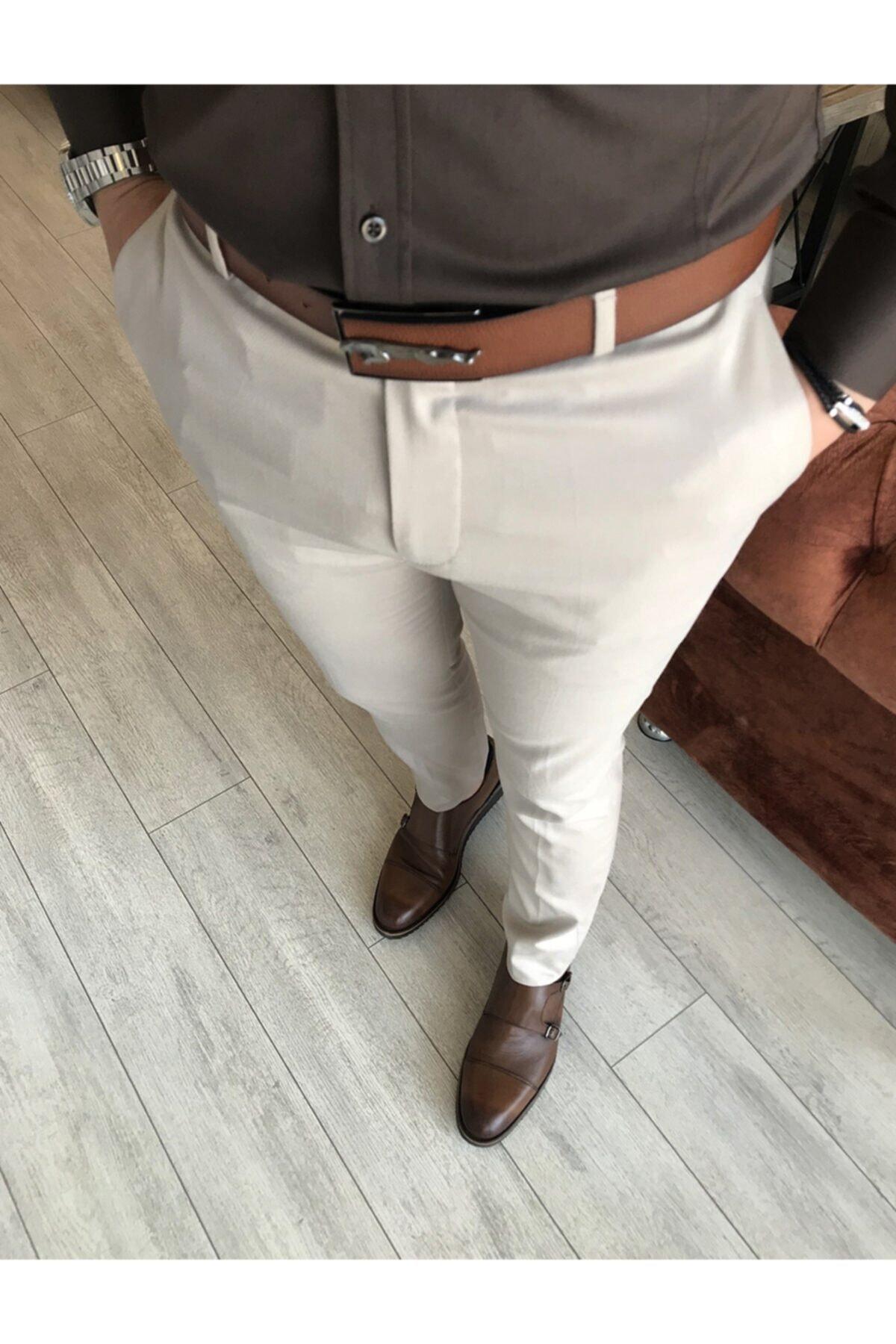 Italyan Kesim Slim Fit Mevsimlik Bej Kumaş Pantolon T3480