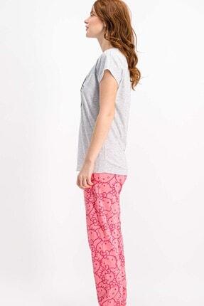Hello Kitty Lisanslı Karmelanj Kısa Kollu Kadın Pijama Takımı 1