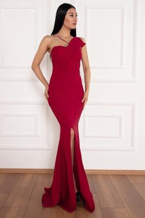 PULLIMM Maureen 13218 Yırtmaçlı Inci Detaylı Uzun Elbise 2