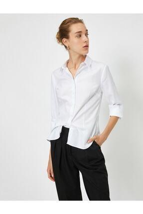 Koton Kadın Beyaz Klasik Yaka Gömlek 1