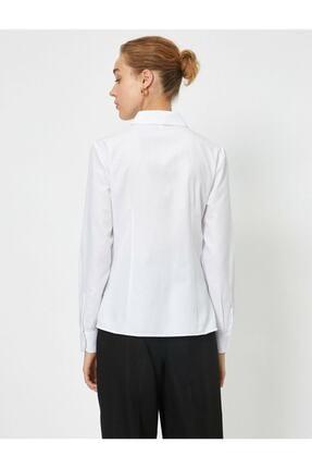 Koton Kadın Beyaz Klasik Yaka Gömlek 3