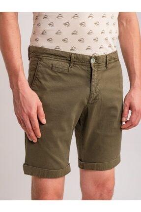 Dufy Haki Düz Pamuk Likra Karışımlı Erkek Short - Slım Fıt 0
