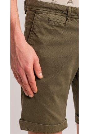 Dufy Haki Düz Pamuk Likra Karışımlı Erkek Short - Slım Fıt 1