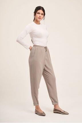 Mizalle Bağcıklı Çizgili Pantolon (Gri) 0
