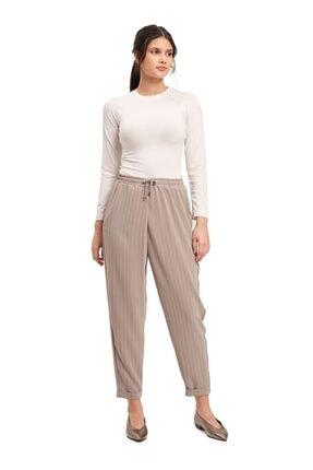 Mizalle Bağcıklı Çizgili Pantolon (Gri) 1