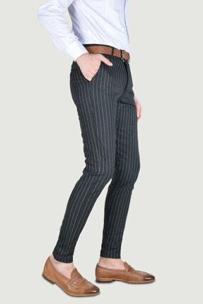 Terapi Men Erkek Çizgi Desenli Slim Fit Keten Pantolon 20y-2200269 Siyah 2