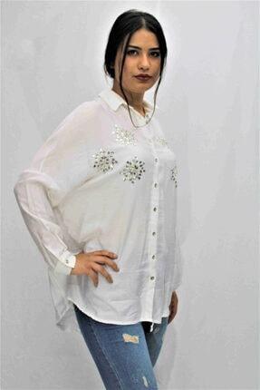 Swass Beyaz Renkte Taş Detaylı Gömlek 2