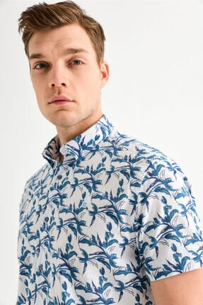 Avva Erkek Mavi Baskılı Alttan Britli Yaka Slim Fit Kısa Kol Gömlek A01y2083 1