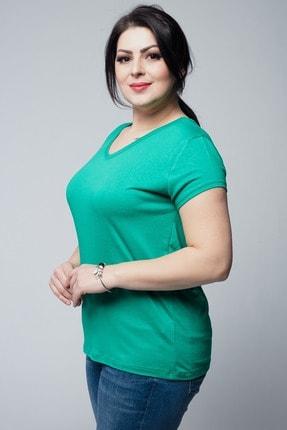 Ebsumu Kadın Büyük Beden V Yaka Basic Kısa Kollu Yeşil Tişört 4