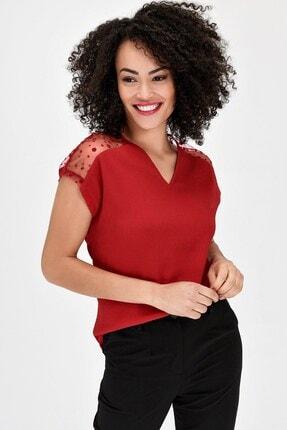 Jument V Yaka Puanlı Tül Detaylı Rahat Kesim Kısakol Şık Ofis Bluz - Kırmızı 1