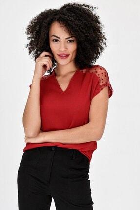 Jument V Yaka Puanlı Tül Detaylı Rahat Kesim Kısakol Şık Ofis Bluz - Kırmızı 2
