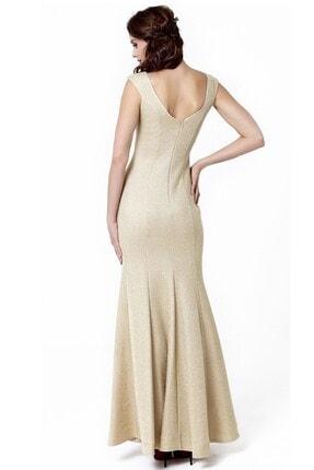 Abiye Sarayı Gold V Yaka Uzun Abiye Elbise 2