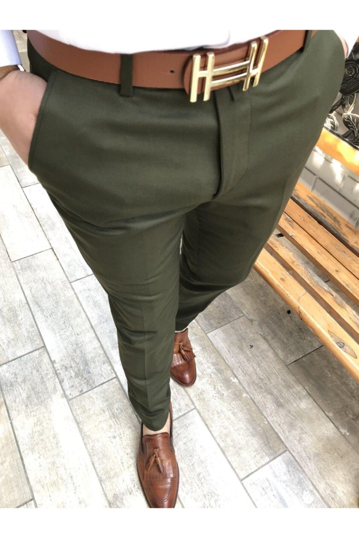 TerziAdemAltun Italyan Kesim Slim Fit Mevsimlik Yeşil Kumaş Pantolon T3482