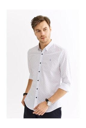 Avva Erkek Beyaz Baskılı Alttan Britli Yaka Slim Fit Gömlek A01s2235 1